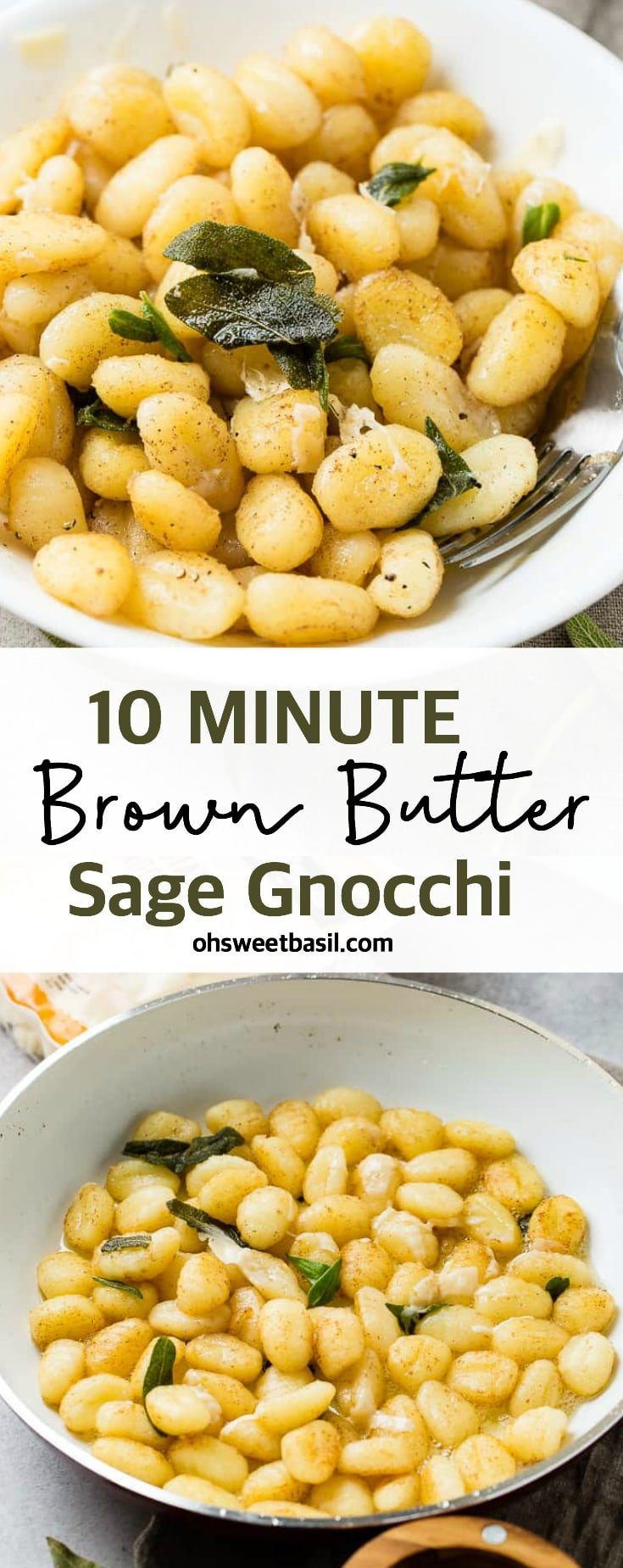 A white skillet with brown butter, gnocchi, and fresh sage to make a yummy 10 minute brown butter sage gnocchi recipe