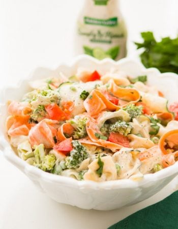 Use a potato peeler to make ribbons of veggies for this 10 minute ranch tortellini pasta salad recipe that's a quick and easy side dish for BBQs! ohsweetbasil.com