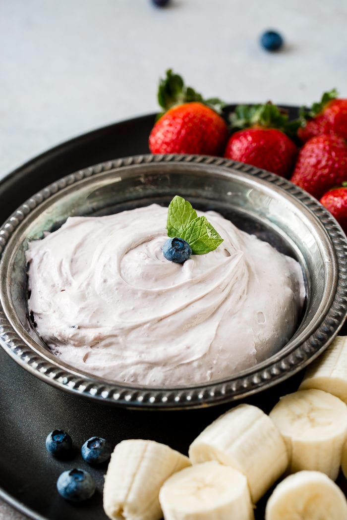 2 Ingredient blueberry fluff fruit dip, a cream cheese dip with style and grace and deliciousness! ohsweetbasil.com