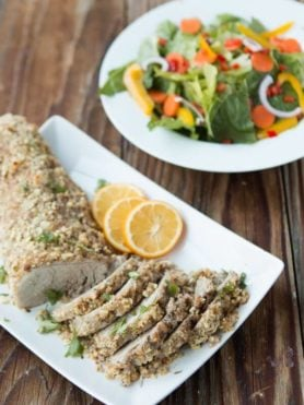 The only moist pork tenderloin, herb crusted pork tenderloin ohsweetbasil.com