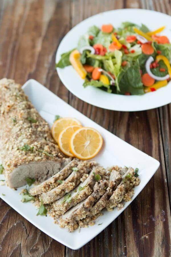 The only moist pork tenderloin, herb crusted pork tenderloin ohsweetbasil.com