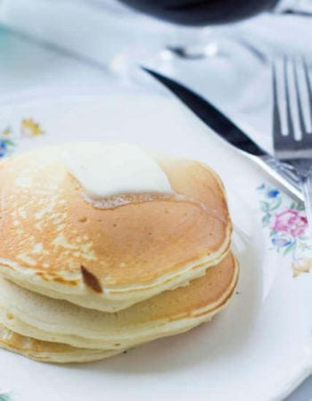 The fluffiest, softest, most delicious #panakes you can make from home, Sour Cream Pancakes. #breakfast is served ohsweetbasil.com