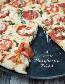 our favorite 4 cheese margherita pizza recipe ohsweetbasil.com