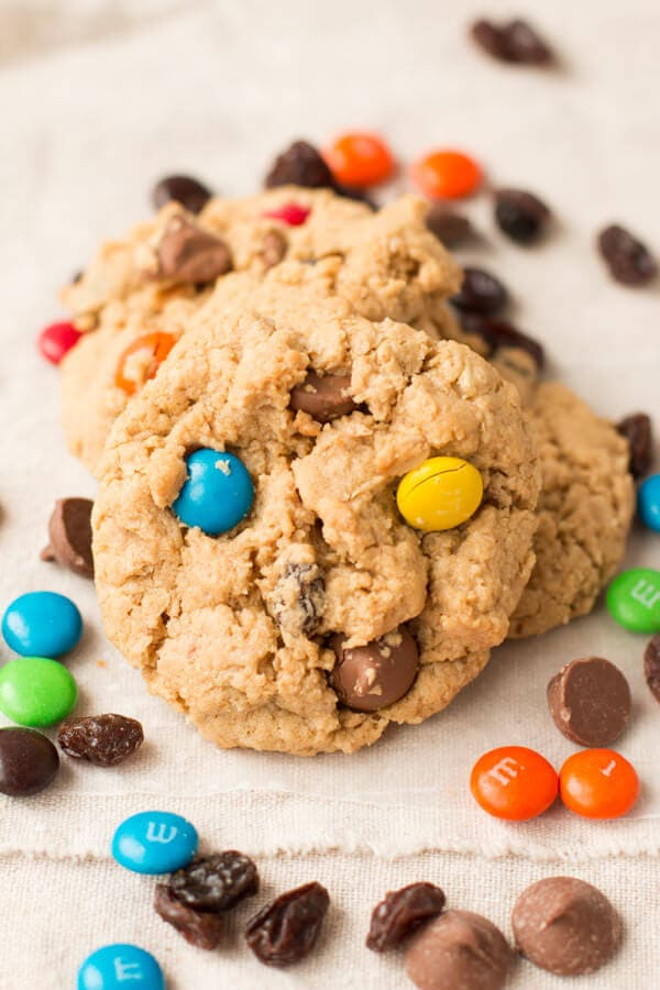we can't stop making these Monster cookies!! peanut butter with m&m's and chocolate!! ohsweetbasil.com