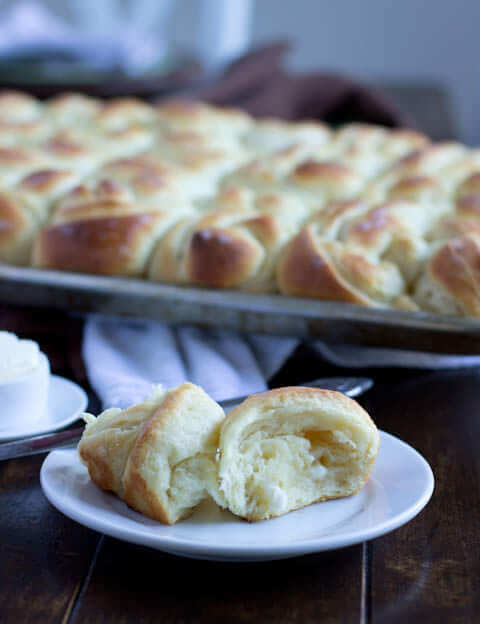 These potato rolls don't require any kneading and are hands down the best rolls we've ever had. Our number one most requested recipe