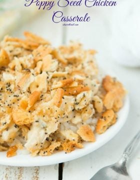 Everyone's favorite Poppy Seed Chicken Casserole with ritz crackers ohsweetbasil.com
