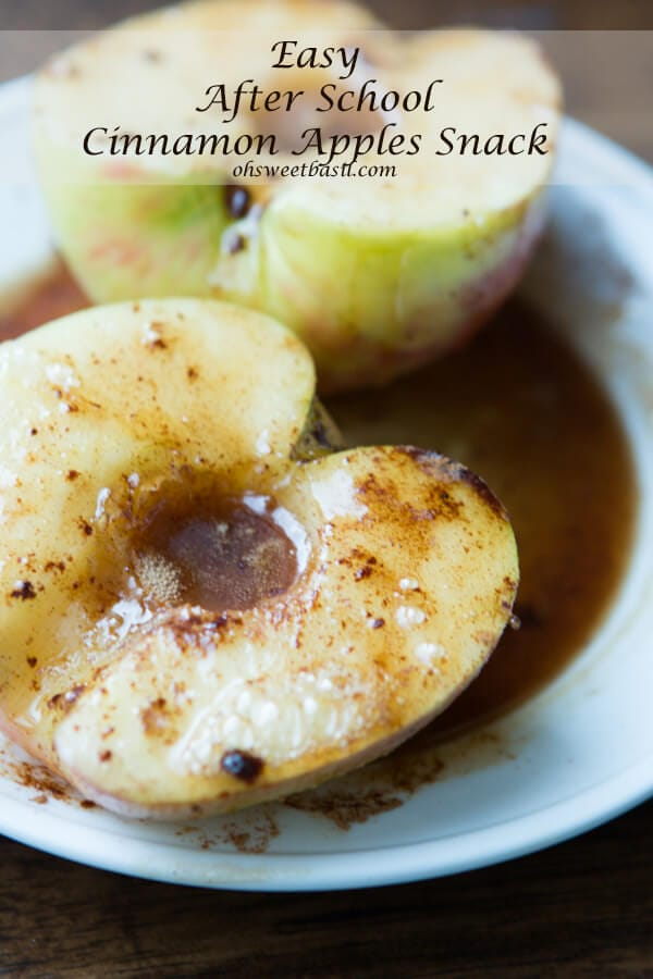 Easy after school snack that the kids love and it tastes like apple pie- Cinnamon Apples ohsweetbasil.com