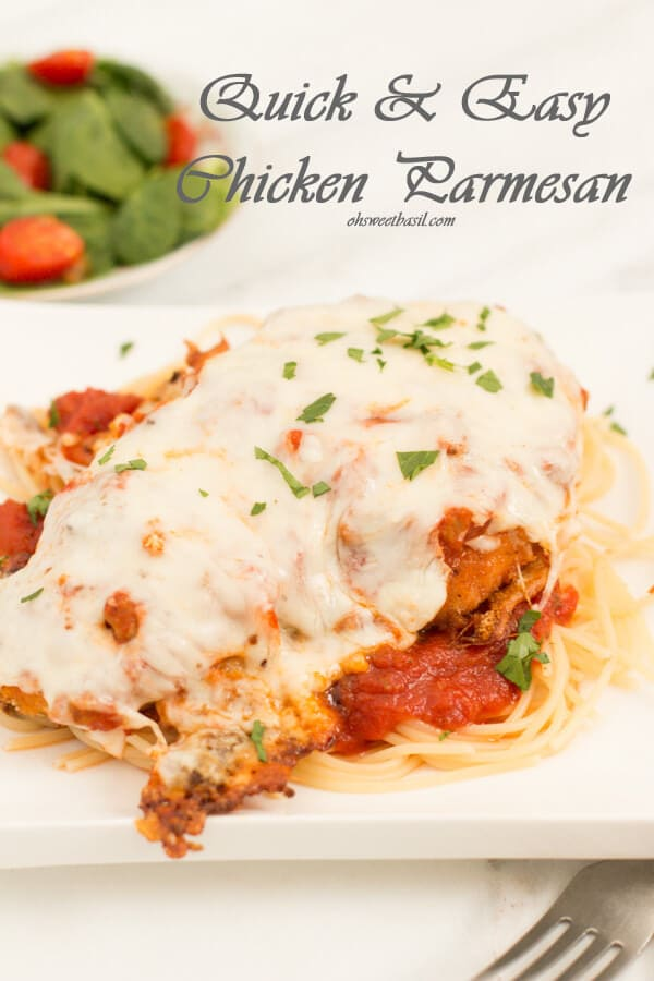quick and easy chicken parmesan recipe with a few tricks to make it the best ever! ohsweetbasil.com