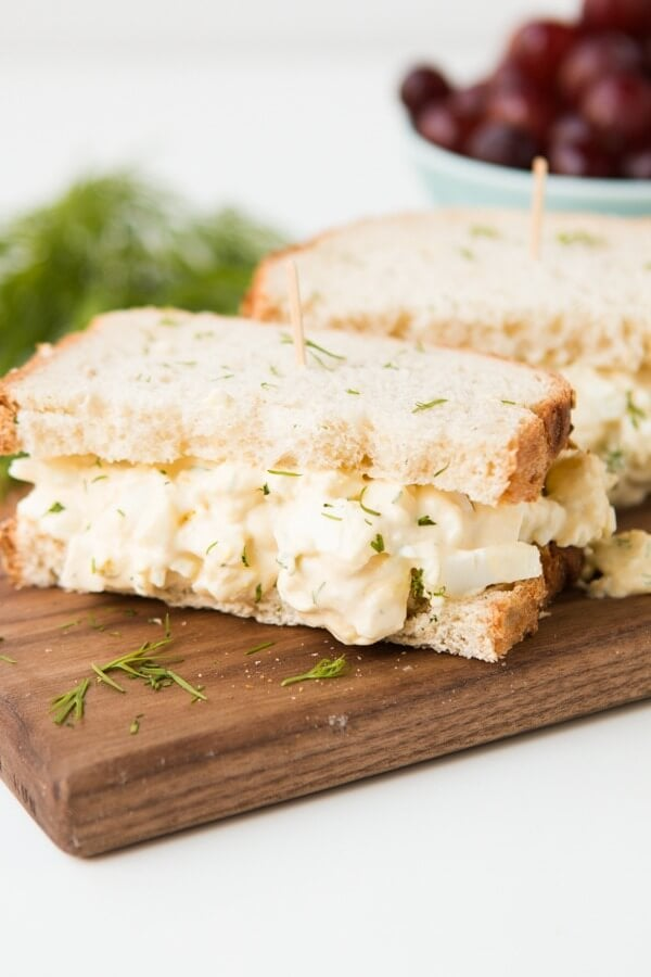 This egg salad has an extra burst of flavor from the dill. It's creamy and delicious. Perfect for lunches and it's the best egg salad sandwich! ohsweetbasil.com