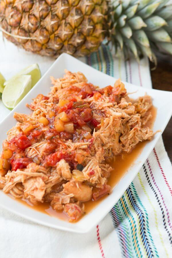 Easy slow cooker mango salsa chicken ohsweetbasil.com crockpot, insta pot, pressure cooker