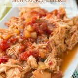 Easy slow cooker mango salsa chicken ohsweetbasil.com