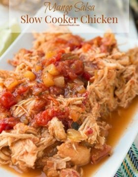 Easy slow cooker mango salsa chicken burritos ohsweetbasil.com crockpot, insta pot, pressure cooker