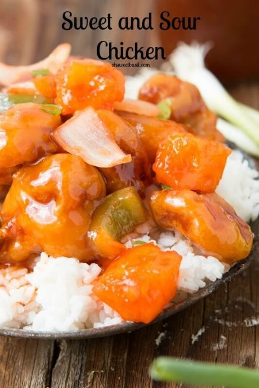Our favorite sweet and sour chicken recipe! ohsweetbasil.com