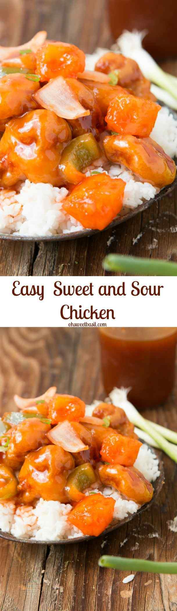 Quick and easy- the best sweet and sour chicken! ohsweetbasil.com