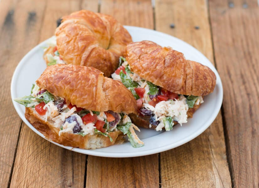The BEST chicken salad croissant sandwich recipe EVER! ohsweetbasil.com