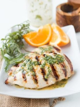 We make this grilled orange tarragon chicken all summer long! ohsweetbasil.com