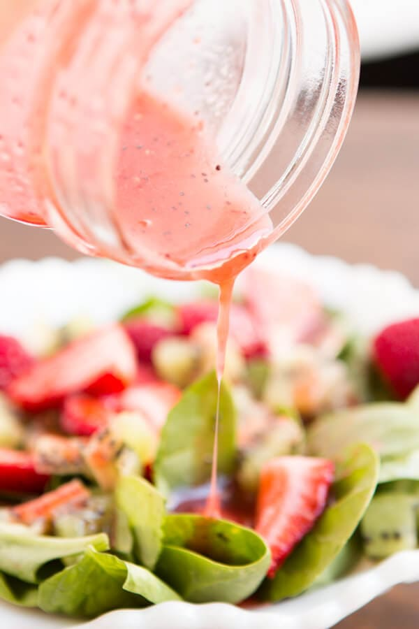 strawberry kiwi salad with strawberry raspberry poppy seed dressing ohsweetbasil.com