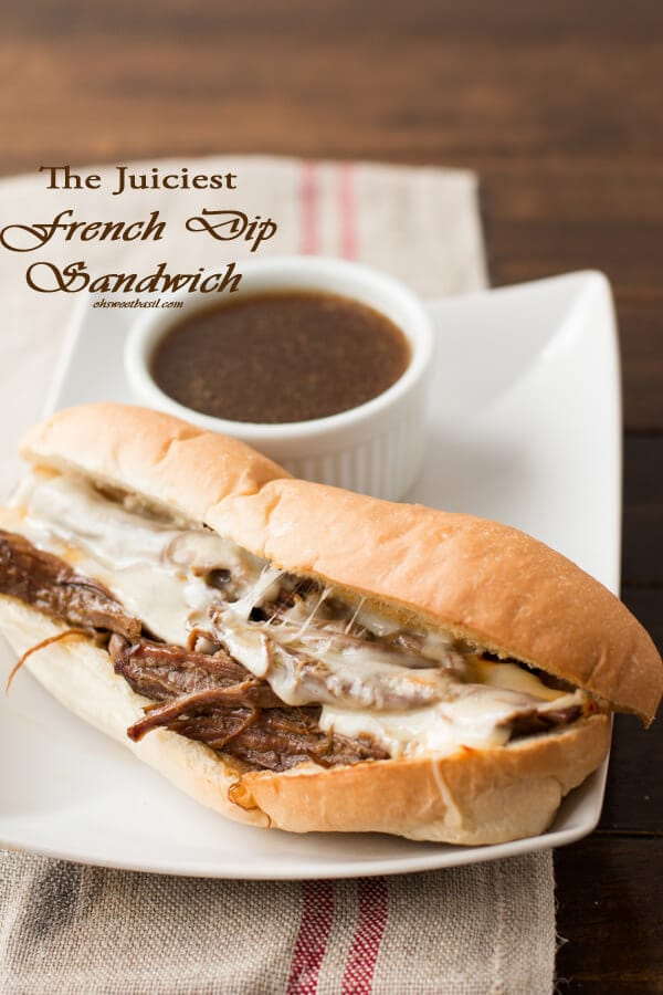 The juiciest french dip sandwich we've ever had. We like this recipe better than restaurants! ohsweetbasil.com