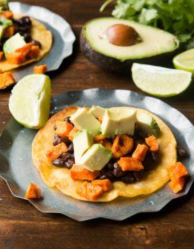 Vegetarian Sweet Potato Tostadas ohsweetbasil.com