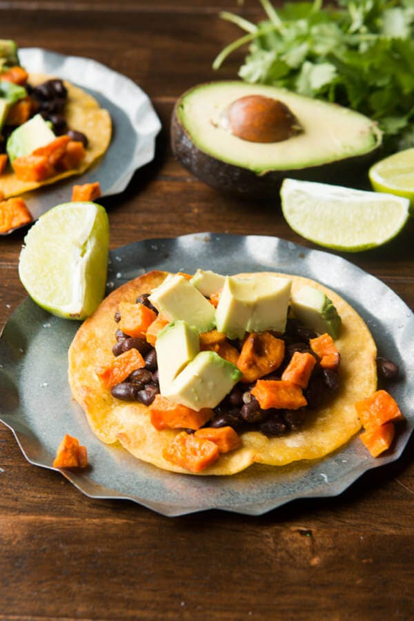 Vegetarian Sweet Potato Tostadas ohsweetbasil.com dairy free, meatless mondays