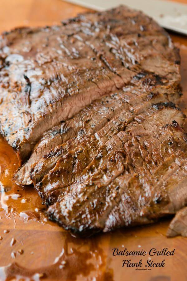 marinated balsamic flank steak on the grill-oh my gosh it was good!!! ohsweetbasil.com