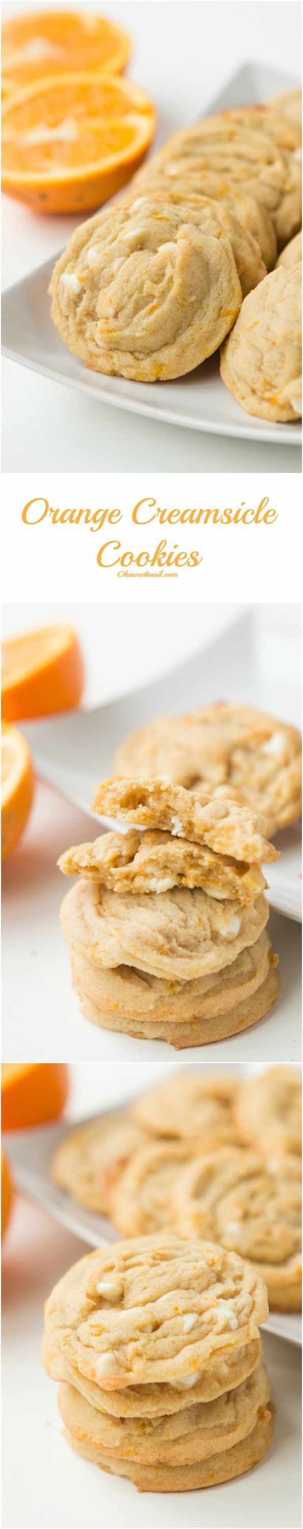 These taste just like our favorite creamsicle popsicles! Orange Creamsicle Cookies! ohsweetbasil.com