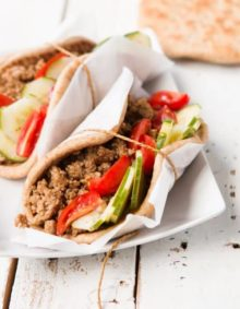 Hoisin Pork Pitas with a refreshing cucumber salad ohsweetbasil.com