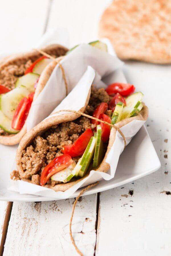 Hoisin Pork Pitas with cucumber salad ohsweetbasil.com Mediterranean