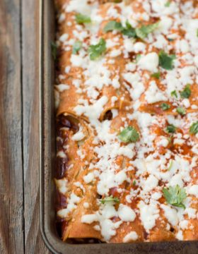 vegetarian sweet potato enchiladas with sweet corn crema ohsweetbasil.com