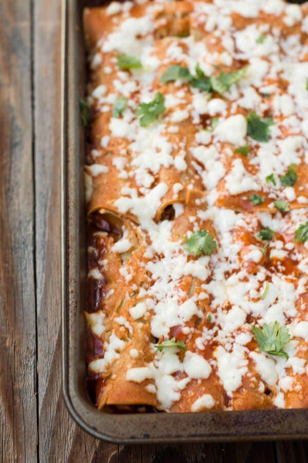 vegetarian sweet potato enchiladas with sweet corn crema ohsweetbasil.com