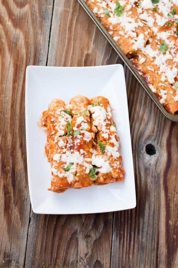 sweet potato enchiladas! Finally a vegetarian dish that isn't just sauteed veggies! ohsweetbasil.com