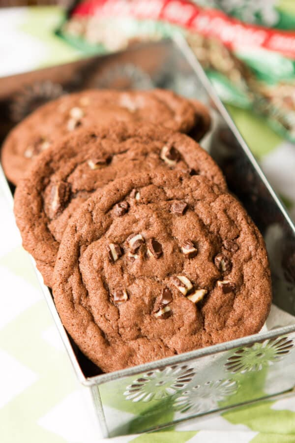 Christmas is never complete until you add the chocolate andes mint cookies! And if you're looking for a fun twist make sure you try adding chocolate chips!