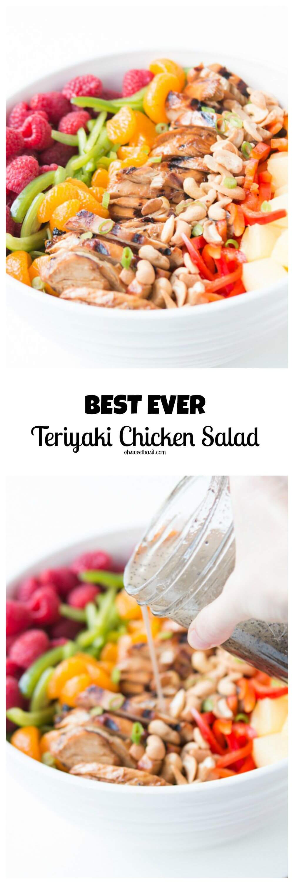 We are completely obsessed with this teriyaki chicken salad loaded with greens, layers of fruit and veggies and that chicken plus a yummy poppy seed dressing! ohsweetbasil.com