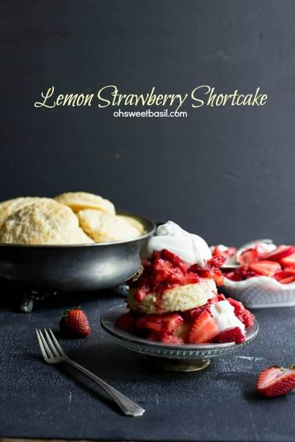 Tender shortcakes with a burst of lemon flavor, ripe strawberries and fresh whipped cream ohsweetbasil.com Lemon Strawberry Shortcake