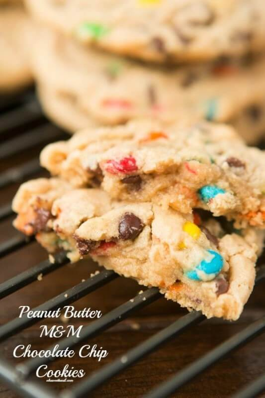 Our most requested recipe to bring to get togethers, peanut butter chocolate chip m&m cookies ohsweetbasil.com