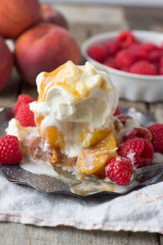 Deep Fried Peaches and Ice Cream ohsweetbasil.com