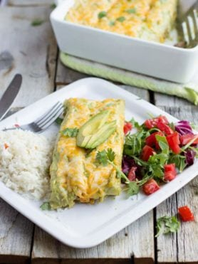 Carne asada enchiladas with the best avocado crema enchilada sauce ever. EV-ER. ohsweetbasil.com