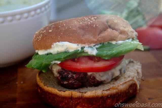 Garlic Basil Caprese Burgers