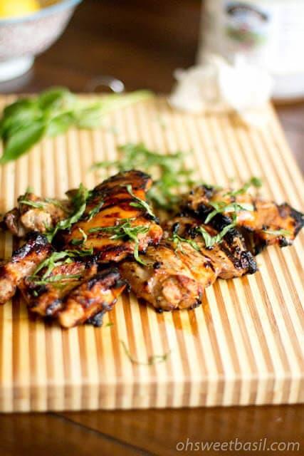 grilled honey lemon basil chicken ohsweetbasil.com