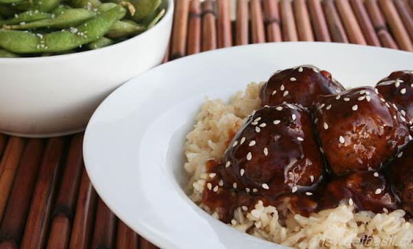 Hoisin Glazed Meatballs ohsweetbasil.com