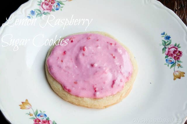 raspberry frosted lemon sugar cookies ohsweetbasil.com