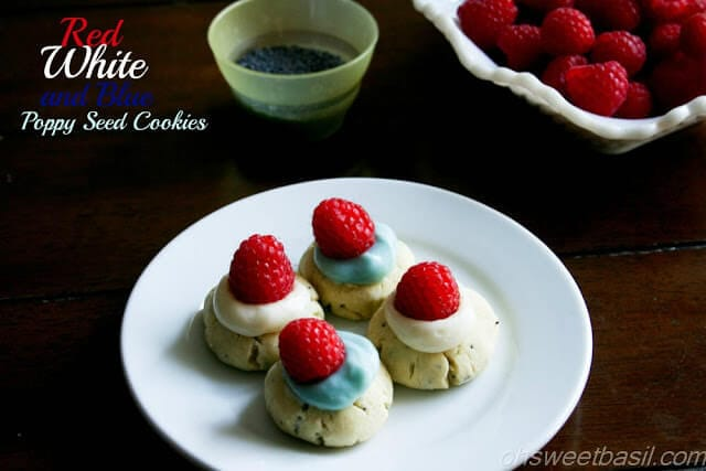 Red White and Blue Poppy Seed Cookies