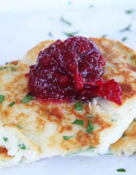 Mashed Potato Cakes with Cranberry Chutney
