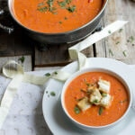 "Roasted Tomato Basil Soup with Mini Grilled Cheese ""Croutons"""