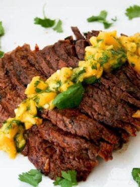 Grilled Flank Steak with Mango ChimiChurri