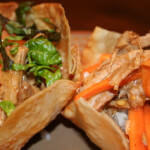 Shredded Pork Salad in Wonton Bowls