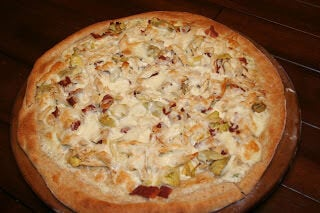 Chicken Bacon and Artichoke Pizza