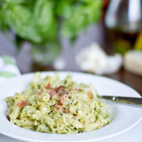 pesto pasta with speck