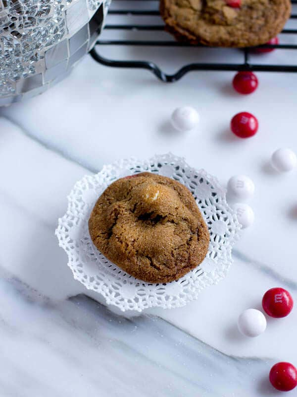 White Chocolate Peppermint Gingersnap Molasses Cookies