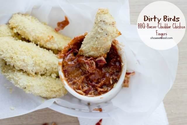 Dirty Birds BBQ Bacon Cheddar Chicken Fingers and Dipping sauce